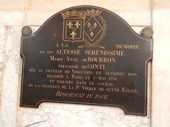 A la Mémoire d'Anne Marie de Bourbon Princesse de Conty